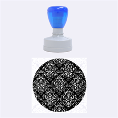 Damask1 Black Marble & Blue Marble Rubber Stamp Round (medium)