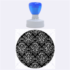 Damask1 Black Marble & Blue Marble Rubber Stamp Round (large)