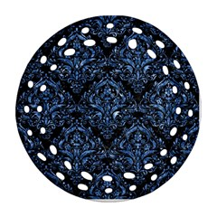 Damask1 Black Marble & Blue Marble Round Filigree Ornament (two Sides)