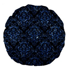 Damask1 Black Marble & Blue Marble Large 18  Premium Flano Round Cushion