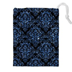 Damask1 Black Marble & Blue Marble Drawstring Pouch (xxl)
