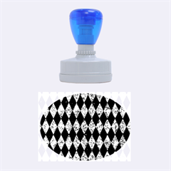 Diamond1 Black Marble & Blue Marble Rubber Stamp Oval