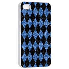 Diamond1 Black Marble & Blue Marble Apple Iphone 4/4s Seamless Case (white)