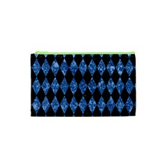 Diamond1 Black Marble & Blue Marble Cosmetic Bag (xs)