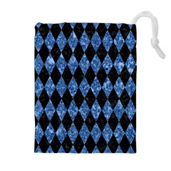 Diamond1 Black Marble & Blue Marble Drawstring Pouch (xl)