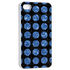 Circles1 Black Marble & Blue Marble (r) Apple Iphone 4/4s Seamless Case (white)