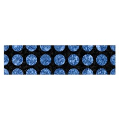 Circles1 Black Marble & Blue Marble (r) Satin Scarf (oblong)