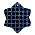 CIRCLES1 BLACK MARBLE & BLUE MARBLE Ornament (Snowflake) Front