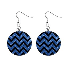 Chevron9 Black Marble & Blue Marble (r) 1  Button Earrings