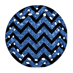 Chevron9 Black Marble & Blue Marble (r) Ornament (round Filigree)