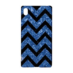 Chevron9 Black Marble & Blue Marble (r) Sony Xperia Z3+ Hardshell Case
