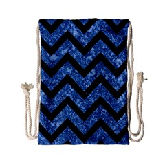 Chevron9 Black Marble & Blue Marble (r) Drawstring Bag (small)