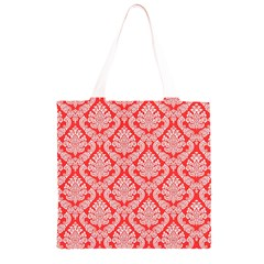 Salmon Damask Grocery Light Tote Bag
