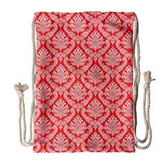 Salmon Damask Drawstring Bag (large)