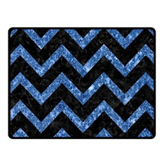 Chevron9 Black Marble & Blue Marble Fleece Blanket (small)