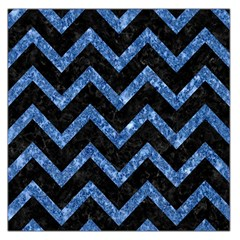 Chevron9 Black Marble & Blue Marble Large Satin Scarf (square)