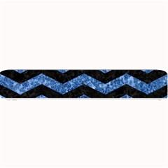 Chevron3 Black Marble & Blue Marble Small Bar Mat