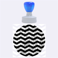 Chevron3 Black Marble & Blue Marble Rubber Stamp Round (large)