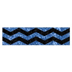 Chevron3 Black Marble & Blue Marble Satin Scarf (oblong)