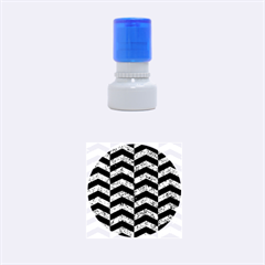 Chevron2 Black Marble & Blue Marble Rubber Stamp Round (small)