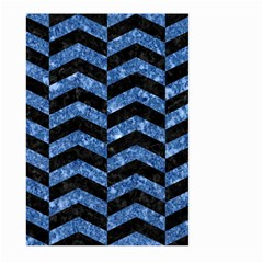 Chevron2 Black Marble & Blue Marble Large Garden Flag (two Sides)