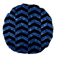 Chevron2 Black Marble & Blue Marble Large 18  Premium Flano Round Cushion
