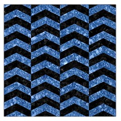 Chevron2 Black Marble & Blue Marble Large Satin Scarf (square)