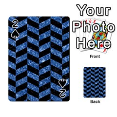 Chevron1 Black Marble & Blue Marble Playing Cards 54 Designs