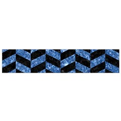 Chevron1 Black Marble & Blue Marble Flano Scarf (small)