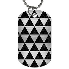 Triangle3 Black Marble & Silver Brushed Metal Dog Tag (two Sides)