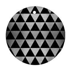 Triangle3 Black Marble & Silver Brushed Metal Round Ornament (two Sides)