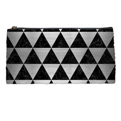 Triangle3 Black Marble & Silver Brushed Metal Pencil Case