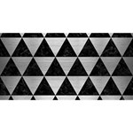 TRIANGLE3 BLACK MARBLE & SILVER BRUSHED METAL MOM 3D Greeting Card (8x4) Front