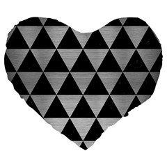 Triangle3 Black Marble & Silver Brushed Metal Large 19  Premium Flano Heart Shape Cushion