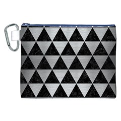 Triangle3 Black Marble & Silver Brushed Metal Canvas Cosmetic Bag (xxl)