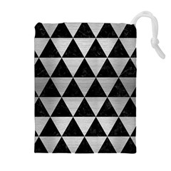 Triangle3 Black Marble & Silver Brushed Metal Drawstring Pouch (xl)