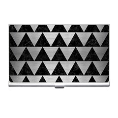 Triangle2 Black Marble & Silver Brushed Metal Business Card Holder