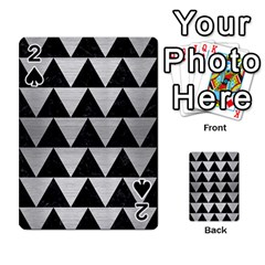 Triangle2 Black Marble & Silver Brushed Metal Playing Cards 54 Designs