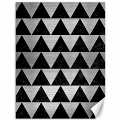 Triangle2 Black Marble & Silver Brushed Metal Canvas 12  X 16