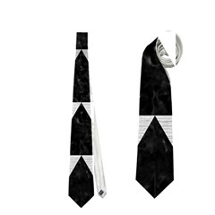 Triangle2 Black Marble & Silver Brushed Metal Necktie (one Side)