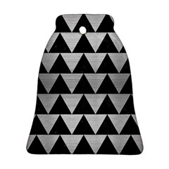 Triangle2 Black Marble & Silver Brushed Metal Ornament (bell)
