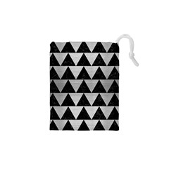 Triangle2 Black Marble & Silver Brushed Metal Drawstring Pouch (xs)