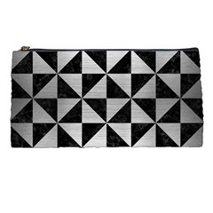 Triangle1 Black Marble & Silver Brushed Metal Pencil Case