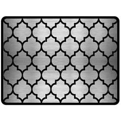 Tile1 Black Marble & Silver Brushed Metal (r) Fleece Blanket (large)