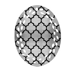 Tile1 Black Marble & Silver Brushed Metal (r) Ornament (oval Filigree)