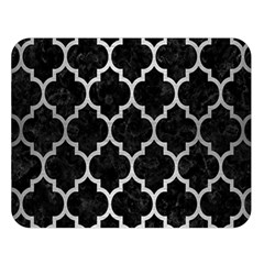 Tile1 Black Marble & Silver Brushed Metal Double Sided Flano Blanket (large)