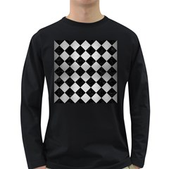 Square2 Black Marble & Silver Brushed Metal Long Sleeve Dark T Shirt