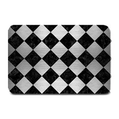 Square2 Black Marble & Silver Brushed Metal Plate Mat