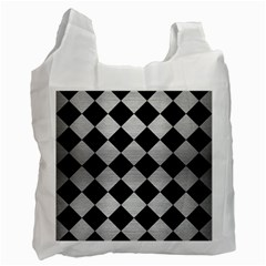 Square2 Black Marble & Silver Brushed Metal Recycle Bag (two Side)