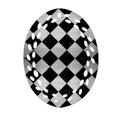 Square2 Black Marble & Silver Brushed Metal Oval Filigree Ornament (two Sides)